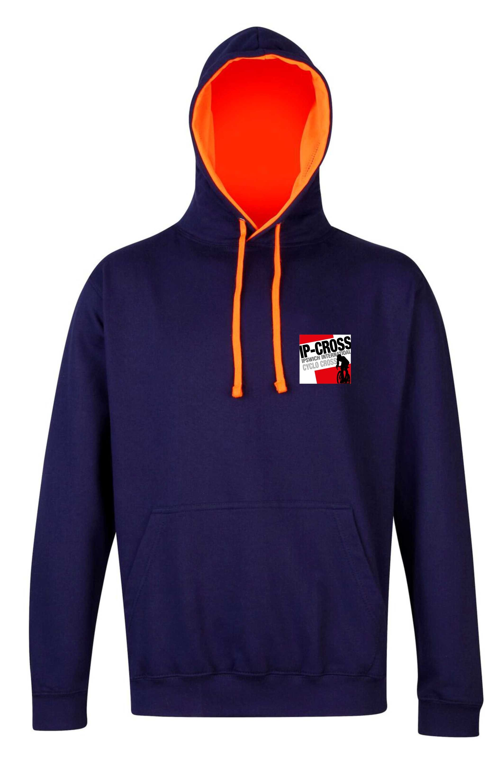 IP-Cross Unisex Superbright Contrast Pullover Hoodie - Oxford Navy and Electric Orange