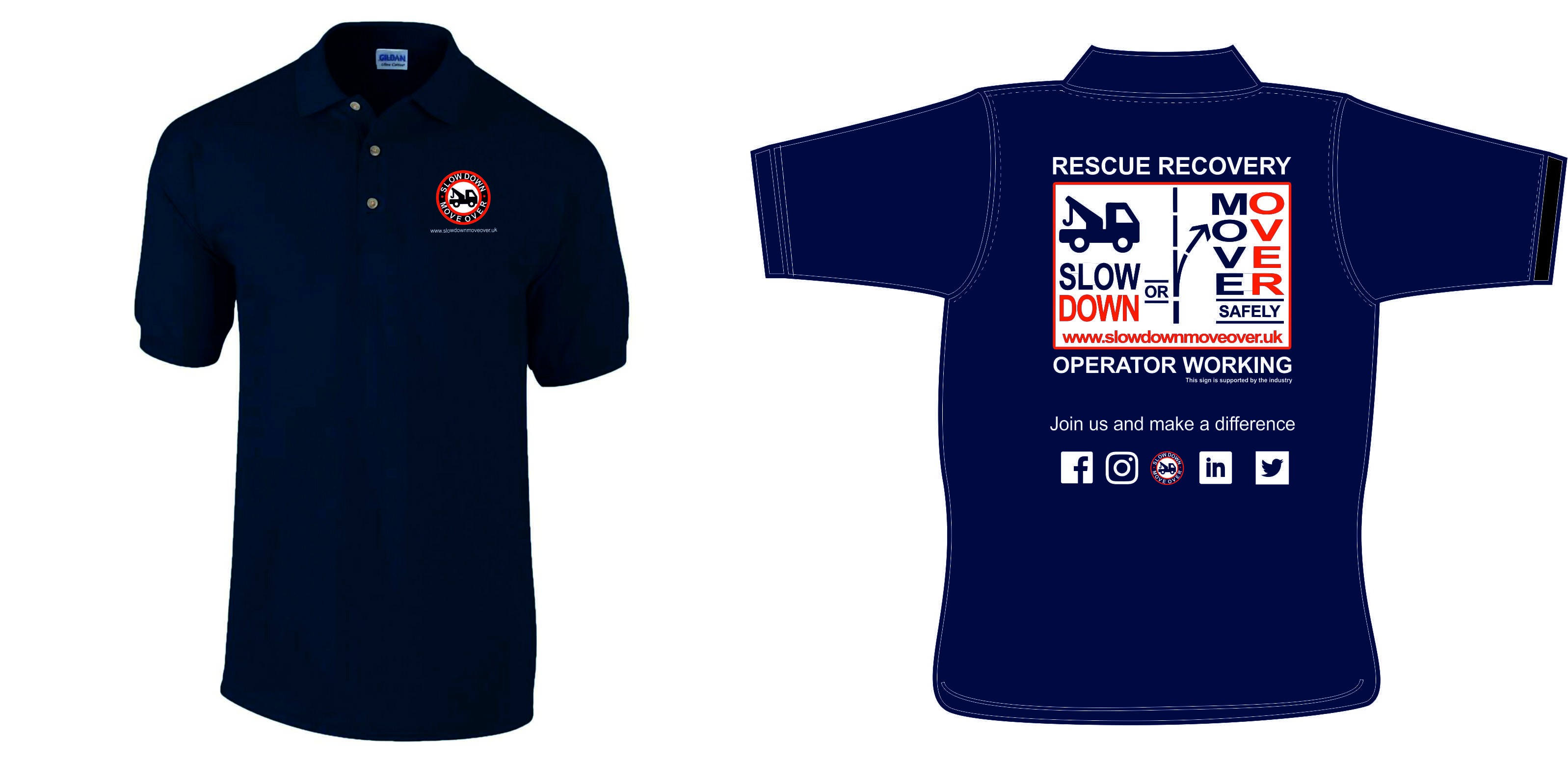 Slow Down Move Over Rescue Recovery Adult Polo Shirt