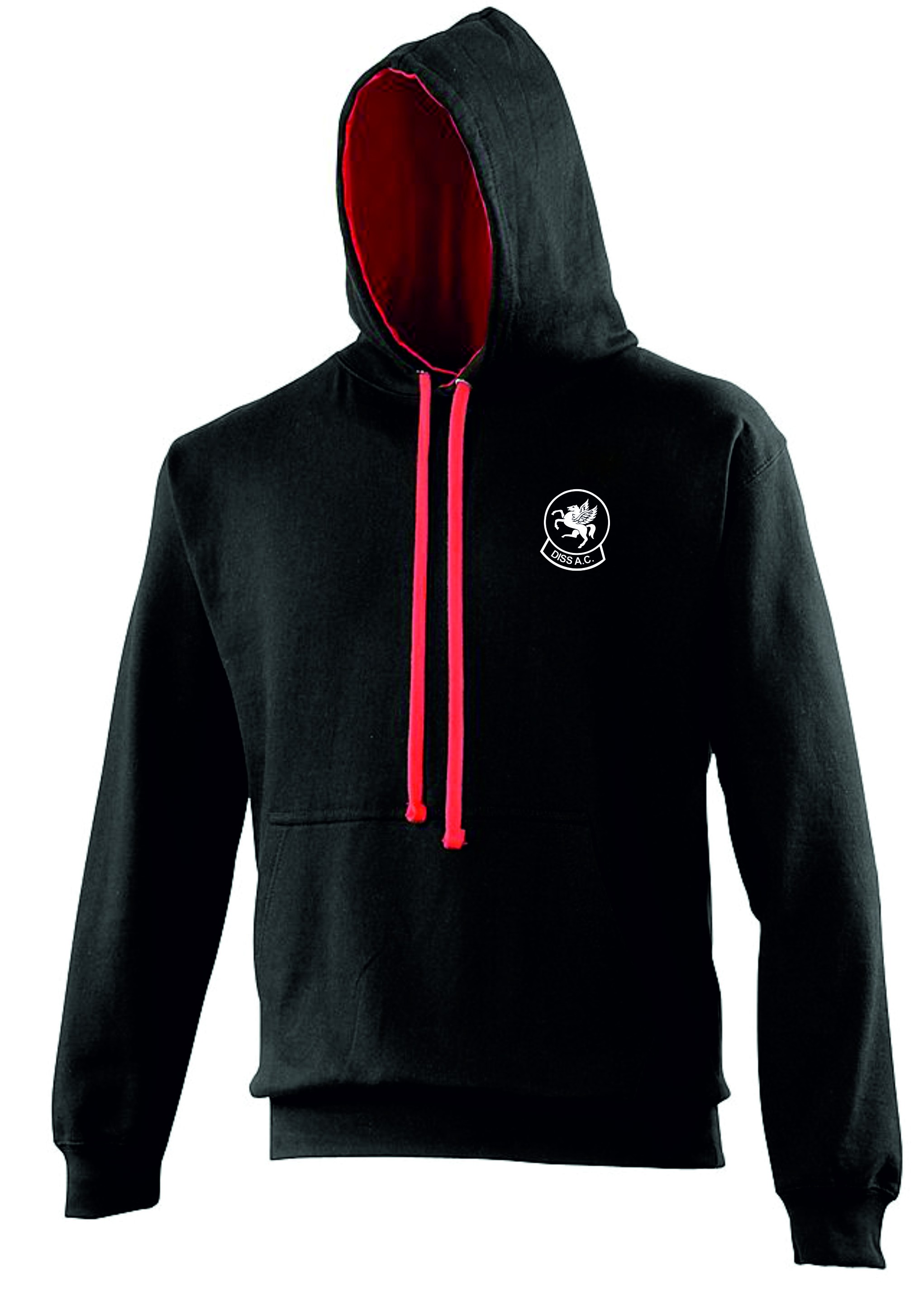 Diss Athletics Club Unisex Adult / Men's Black & Red Contrast Pullover Hoodie - COACH