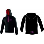 Official Cake Gang Black and Hot Pink Varsity Pullover Hoodie