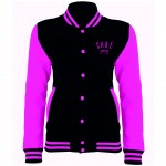 Official Cake Gang Black and Electric Pink Varsity Jacket